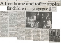 A free home and toffee apples for the children at synagogue.