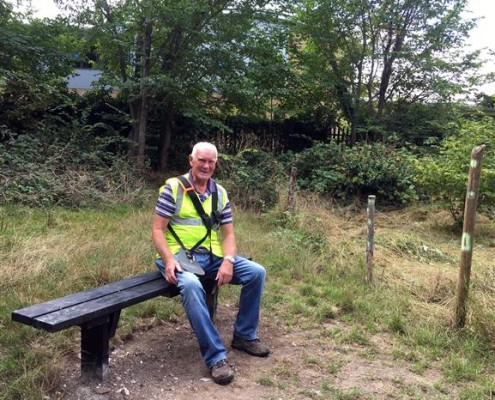 Many thanks again, Dave, Seated on his second replacement bench!